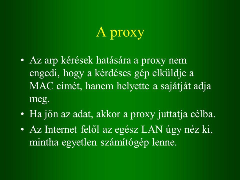 A proxy Az arp kérések hatására a proxy nem engedi, hogy a kérdéses gép elküldje a MAC címét, hanem helyette a sajátját adja meg.