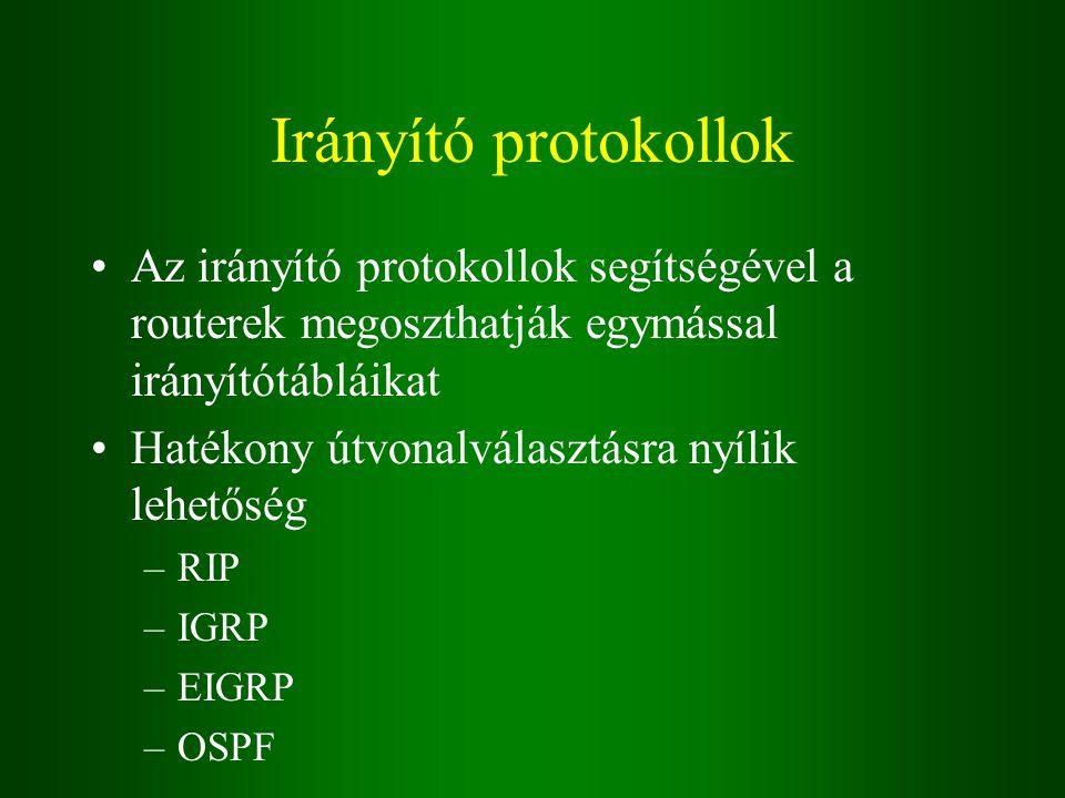 Irányító protokollok Az irányító protokollok segítségével a routerek megoszthatják egymással irányítótábláikat Hatékony útvonalválasztásra nyílik lehetőség –RIP –IGRP –EIGRP –OSPF