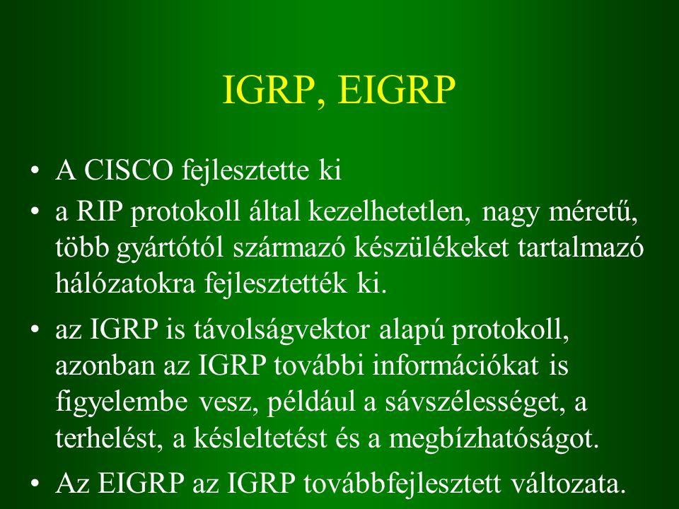 IGRP, EIGRP A CISCO fejlesztette ki a RIP protokoll által kezelhetetlen, nagy méretű, több gyártótól származó készülékeket tartalmazó hálózatokra fejlesztették ki.