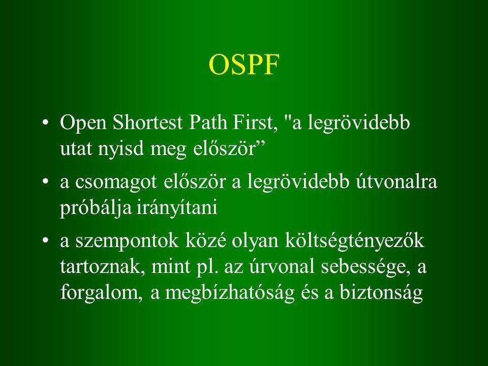 OSPF Open Shortest Path First, a legrövidebb utat nyisd meg először a csomagot először a legrövidebb útvonalra próbálja irányítani a szempontok közé olyan költségtényezők tartoznak, mint pl.