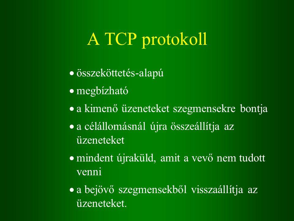 A TCP protokoll  összeköttetés-alapú  megbízható  a kimenő üzeneteket szegmensekre bontja  a célállomásnál újra összeállítja az üzeneteket  mindent újraküld, amit a vevő nem tudott venni  a bejövő szegmensekből visszaállítja az üzeneteket.