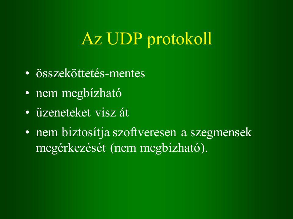 Az UDP protokoll összeköttetés-mentes nem megbízható üzeneteket visz át nem biztosítja szoftveresen a szegmensek megérkezését (nem megbízható).