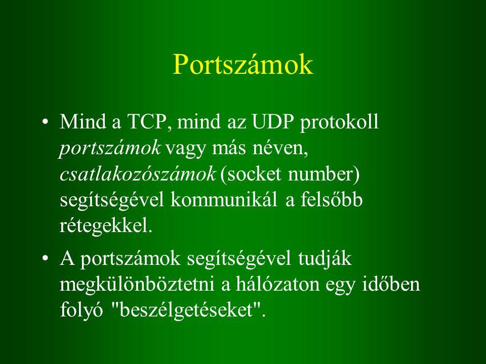 Portszámok Mind a TCP, mind az UDP protokoll portszámok vagy más néven, csatlakozószámok (socket number) segítségével kommunikál a felsőbb rétegekkel.