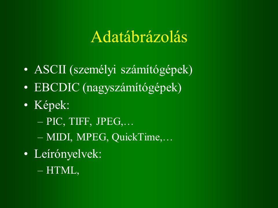 Adatábrázolás ASCII (személyi számítógépek) EBCDIC (nagyszámítógépek) Képek: –PIC, TIFF, JPEG,… –MIDI, MPEG, QuickTime,… Leírónyelvek: –HTML,