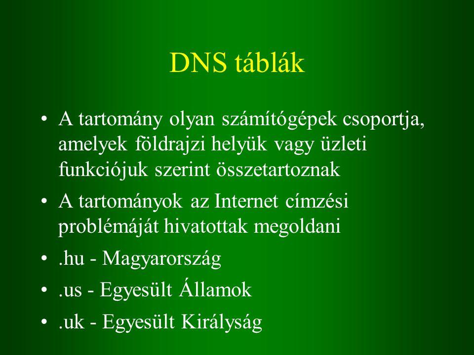 DNS táblák A tartomány olyan számítógépek csoportja, amelyek földrajzi helyük vagy üzleti funkciójuk szerint összetartoznak A tartományok az Internet címzési problémáját hivatottak megoldani.hu - Magyarország.us - Egyesült Államok.uk - Egyesült Királyság