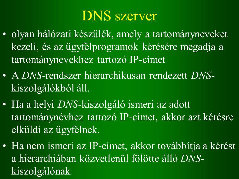 DNS szerver olyan hálózati készülék, amely a tartományneveket kezeli, és az ügyfélprogramok kérésére megadja a tartománynevekhez tartozó IP-címet A DNS-rendszer hierarchikusan rendezett DNS- kiszolgálókból áll.