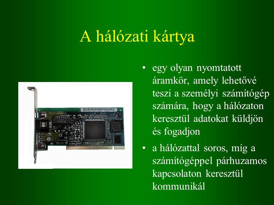 A hálózati kártya egy olyan nyomtatott áramkör, amely lehetővé teszi a személyi számítógép számára, hogy a hálózaton keresztül adatokat küldjön és fogadjon a hálózattal soros, míg a számítógéppel párhuzamos kapcsolaton keresztül kommunikál