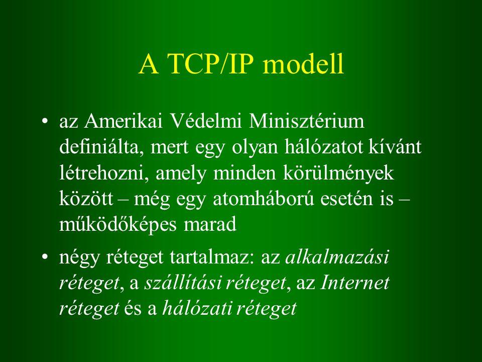 A TCP/IP modell az Amerikai Védelmi Minisztérium definiálta, mert egy olyan hálózatot kívánt létrehozni, amely minden körülmények között – még egy atomháború esetén is – működőképes marad négy réteget tartalmaz: az alkalmazási réteget, a szállítási réteget, az Internet réteget és a hálózati réteget