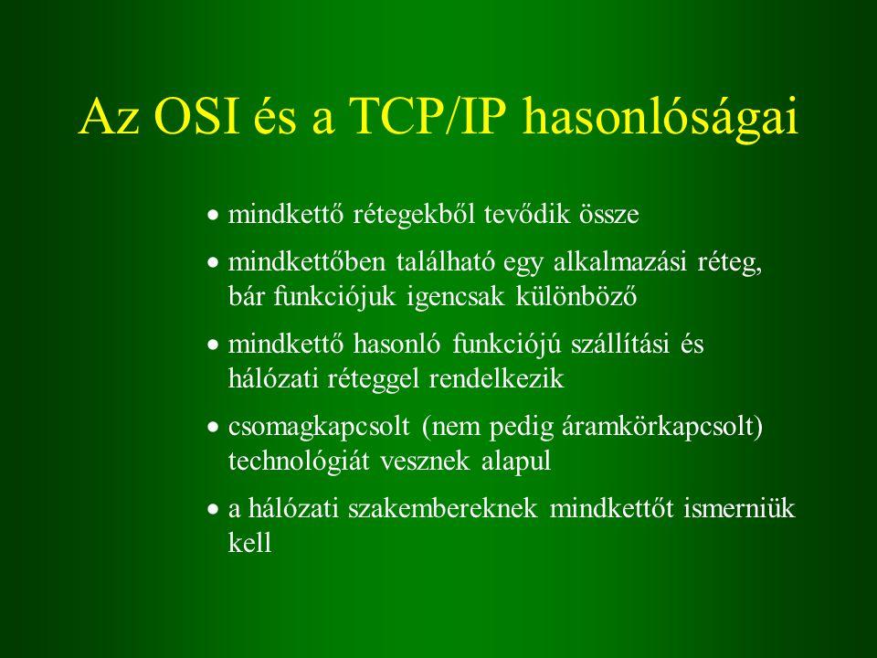 Az OSI és a TCP/IP hasonlóságai  mindkettő rétegekből tevődik össze  mindkettőben található egy alkalmazási réteg, bár funkciójuk igencsak különböző  mindkettő hasonló funkciójú szállítási és hálózati réteggel rendelkezik  csomagkapcsolt (nem pedig áramkörkapcsolt) technológiát vesznek alapul  a hálózati szakembereknek mindkettőt ismerniük kell