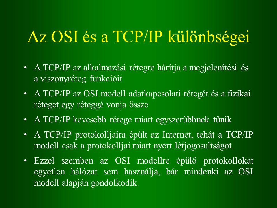 Az OSI és a TCP/IP különbségei A TCP/IP az alkalmazási rétegre hárítja a megjelenítési és a viszonyréteg funkcióit A TCP/IP az OSI modell adatkapcsolati rétegét és a fizikai réteget egy réteggé vonja össze A TCP/IP kevesebb rétege miatt egyszerűbbnek tűnik A TCP/IP protokolljaira épült az Internet, tehát a TCP/IP modell csak a protokolljai miatt nyert létjogosultságot.