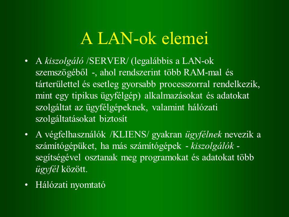 A LAN-ok elemei A kiszolgáló /SERVER/ (legalábbis a LAN-ok szemszögéből -, ahol rendszerint több RAM-mal és tárterülettel és esetleg gyorsabb processzorral rendelkezik, mint egy tipikus ügyfélgép) alkalmazásokat és adatokat szolgáltat az ügyfélgépeknek, valamint hálózati szolgáltatásokat biztosít A végfelhasználók /KLIENS/ gyakran ügyfélnek nevezik a számítógépüket, ha más számítógépek - kiszolgálók - segítségével osztanak meg programokat és adatokat több ügyfél között.