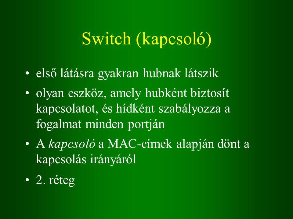 Switch (kapcsoló) első látásra gyakran hubnak látszik olyan eszköz, amely hubként biztosít kapcsolatot, és hídként szabályozza a fogalmat minden portján A kapcsoló a MAC-címek alapján dönt a kapcsolás irányáról 2.