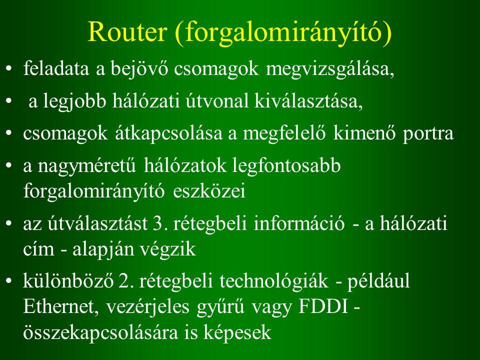 Router (forgalomirányító) feladata a bejövő csomagok megvizsgálása, a legjobb hálózati útvonal kiválasztása, csomagok átkapcsolása a megfelelő kimenő portra a nagyméretű hálózatok legfontosabb forgalomirányító eszközei az útválasztást 3.