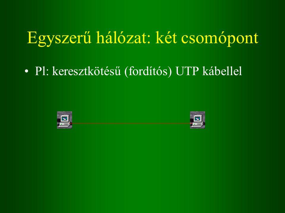 Egyszerű hálózat: két csomópont Pl: keresztkötésű (fordítós) UTP kábellel