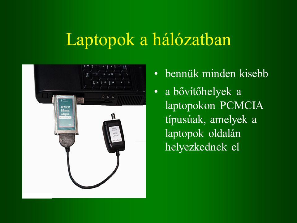 Laptopok a hálózatban bennük minden kisebb a bővítőhelyek a laptopokon PCMCIA típusúak, amelyek a laptopok oldalán helyezkednek el