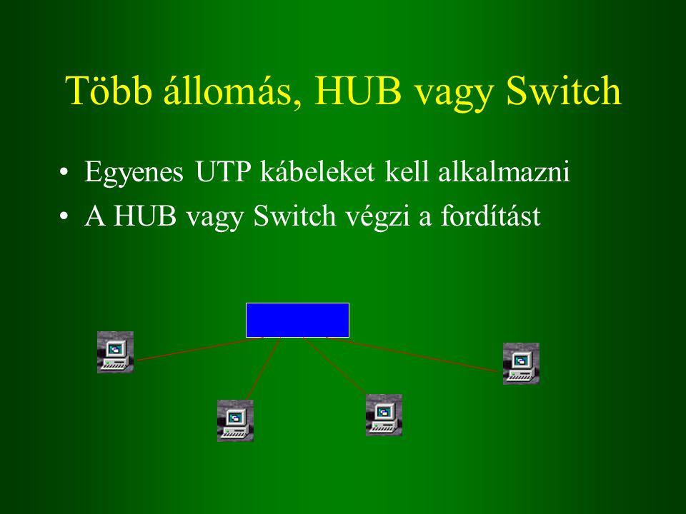 Több állomás, HUB vagy Switch Egyenes UTP kábeleket kell alkalmazni A HUB vagy Switch végzi a fordítást