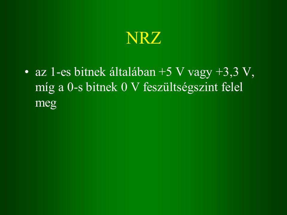 NRZ az 1-es bitnek általában +5 V vagy +3,3 V, míg a 0-s bitnek 0 V feszültségszint felel meg