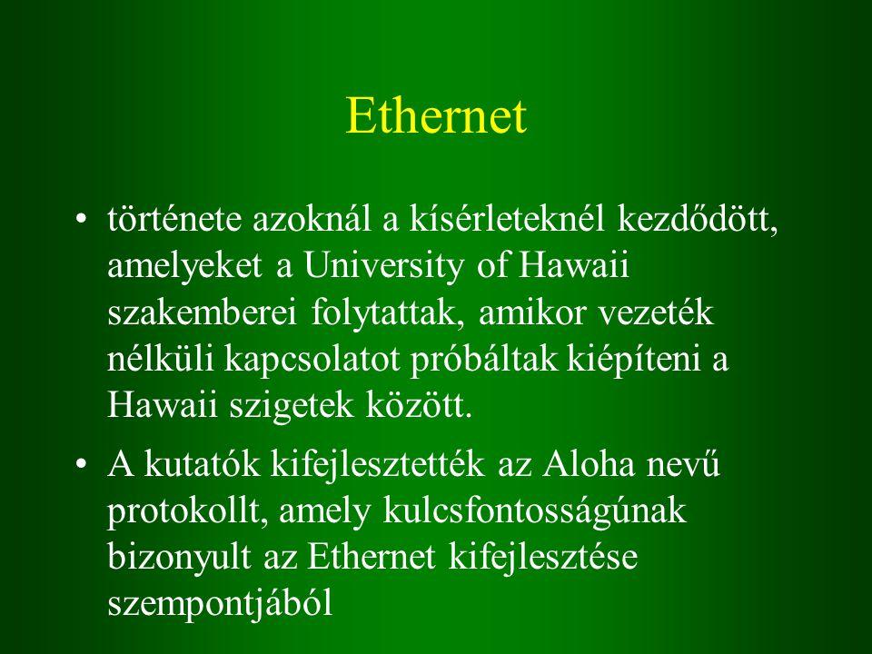 Ethernet története azoknál a kísérleteknél kezdődött, amelyeket a University of Hawaii szakemberei folytattak, amikor vezeték nélküli kapcsolatot próbáltak kiépíteni a Hawaii szigetek között.