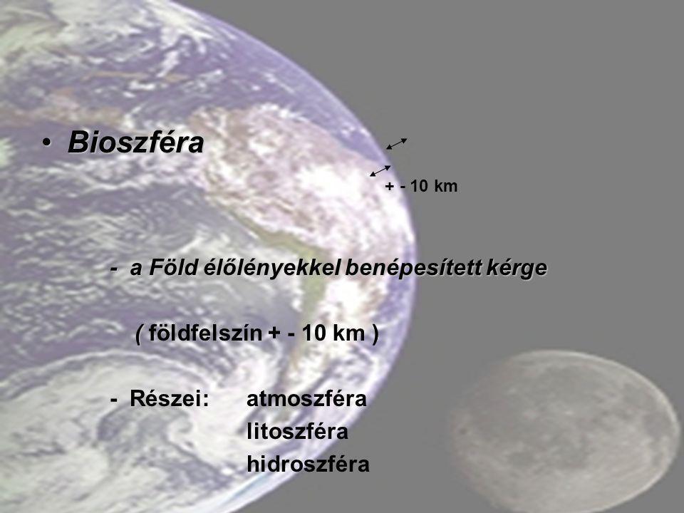 BioszféraBioszféra - a Föld élőlényekkel benépesített kérge ( ( földfelszín + - 10 km ) - Részei:atmoszféra litoszféra hidroszféra + - 10 km