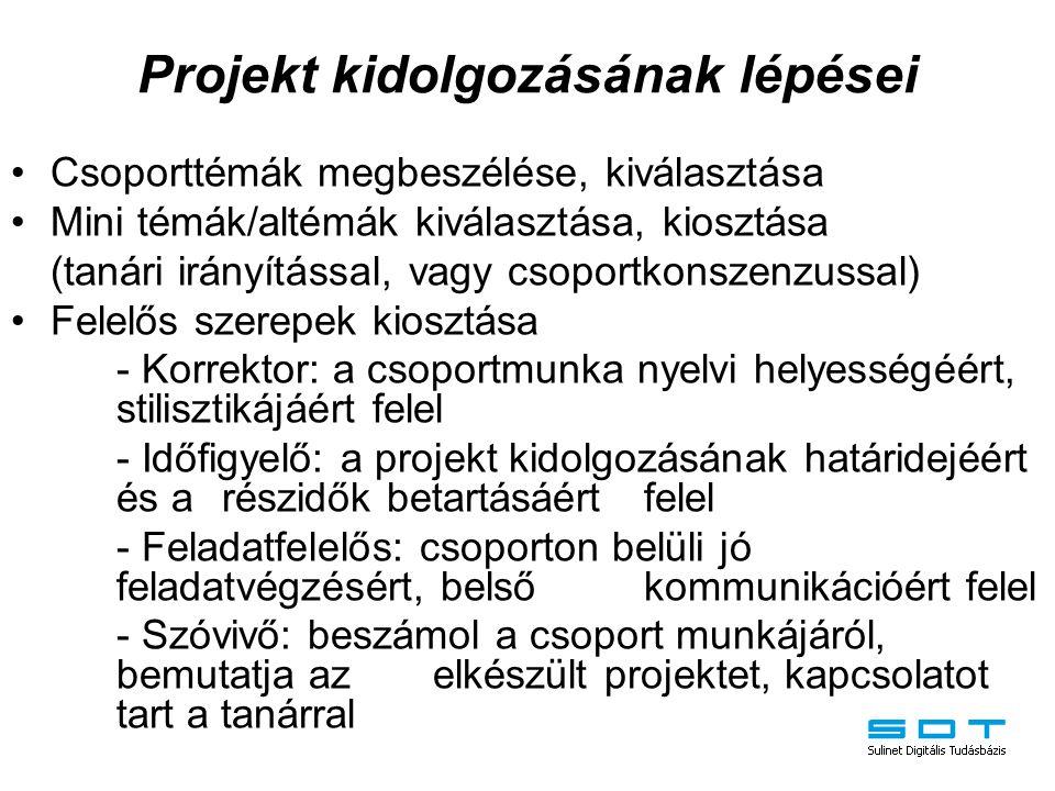 Projekt kidolgozásának lépései Csoporttémák megbeszélése, kiválasztása Mini témák/altémák kiválasztása, kiosztása (tanári irányítással, vagy csoportko