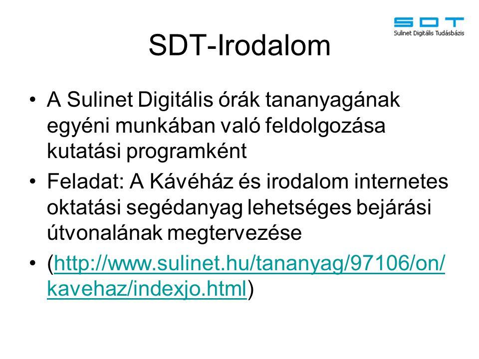 SDT-Irodalom A Sulinet Digitális órák tananyagának egyéni munkában való feldolgozása kutatási programként Feladat: A Kávéház és irodalom internetes ok