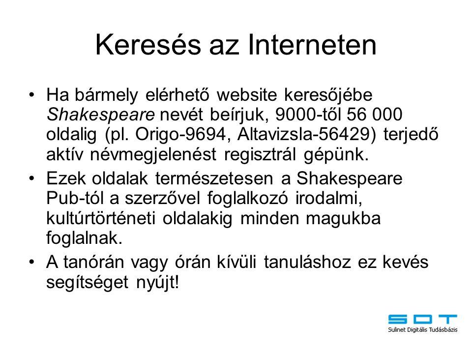 Keresés az Interneten Ha bármely elérhető website keresőjébe Shakespeare nevét beírjuk, 9000-től 56 000 oldalig (pl. Origo-9694, Altavizsla-56429) ter