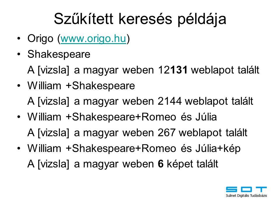 Szűkített keresés példája Origo (www.origo.hu)www.origo.hu Shakespeare A [vizsla] a magyar weben 12131 weblapot talált William +Shakespeare A [vizsla]
