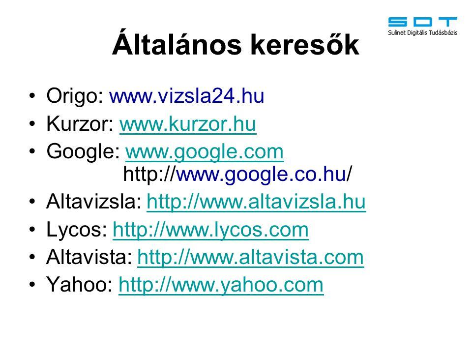 Általános keresők Origo: www.vizsla24.hu Kurzor: www.kurzor.huwww.kurzor.hu Google: www.google.com http://www.google.co.hu/www.google.com Altavizsla: