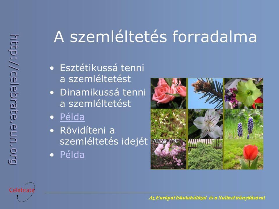 Az Európai Iskolahálózat és a Sulinet irányításával http://celebrate.eun.org A szemléltetés forradalma Esztétikussá tenni a szemléltetést Dinamikussá tenni a szemléltetést Példa Rövidíteni a szemléltetés idejét Példa