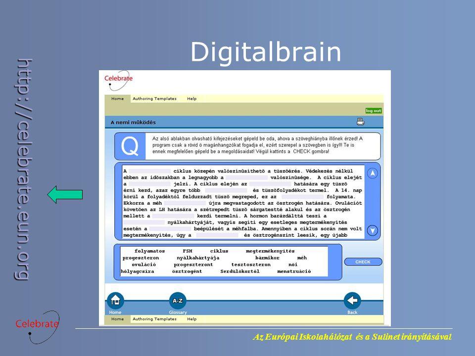 Az Európai Iskolahálózat és a Sulinet irányításával http://celebrate.eun.org Digitalbrain
