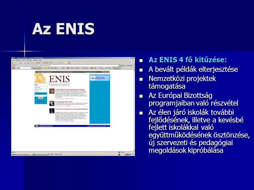 Az ENIS Az ENIS 4 fő kitűzése: Az ENIS 4 fő kitűzése: A bevált példák elterjesztése A bevált példák elterjesztése Nemzetközi projektek támogatása Nemzetközi projektek támogatása Az Európai Bizottság programjaiban való részvétel Az Európai Bizottság programjaiban való részvétel Az élen járó iskolák további fejlődésének, illetve a kevésbé fejlett iskolákkal való együttműködésének ösztönzése, új szervezeti és pedagógiai megoldások kipróbálása Az élen járó iskolák további fejlődésének, illetve a kevésbé fejlett iskolákkal való együttműködésének ösztönzése, új szervezeti és pedagógiai megoldások kipróbálása