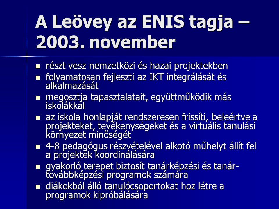 A Leövey az ENIS tagja – 2003.