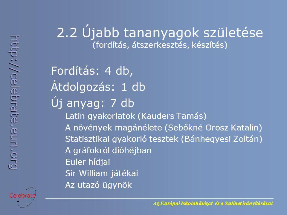 Az Európai Iskolahálózat és a Sulinet irányításával http://celebrate.eun.org 2.2 Újabb tananyagok születése (fordítás, átszerkesztés, készítés) Fordítás: 4 db, Átdolgozás: 1 db Új anyag: 7 db Latin gyakorlatok (Kauders Tamás) A növények magánélete (Sebőkné Orosz Katalin) Statisztikai gyakorló tesztek (Bánhegyesi Zoltán) A gráfokról dióhéjban Euler hídjai Sir William játékai Az utazó ügynök