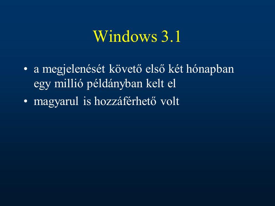Windows 3.1 a megjelenését követő első két hónapban egy millió példányban kelt el magyarul is hozzáférhető volt