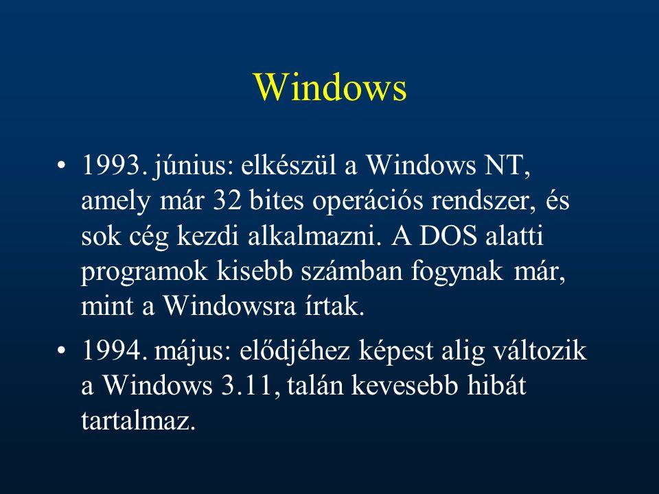 Windows 1993. június: elkészül a Windows NT, amely már 32 bites operációs rendszer, és sok cég kezdi alkalmazni. A DOS alatti programok kisebb számban