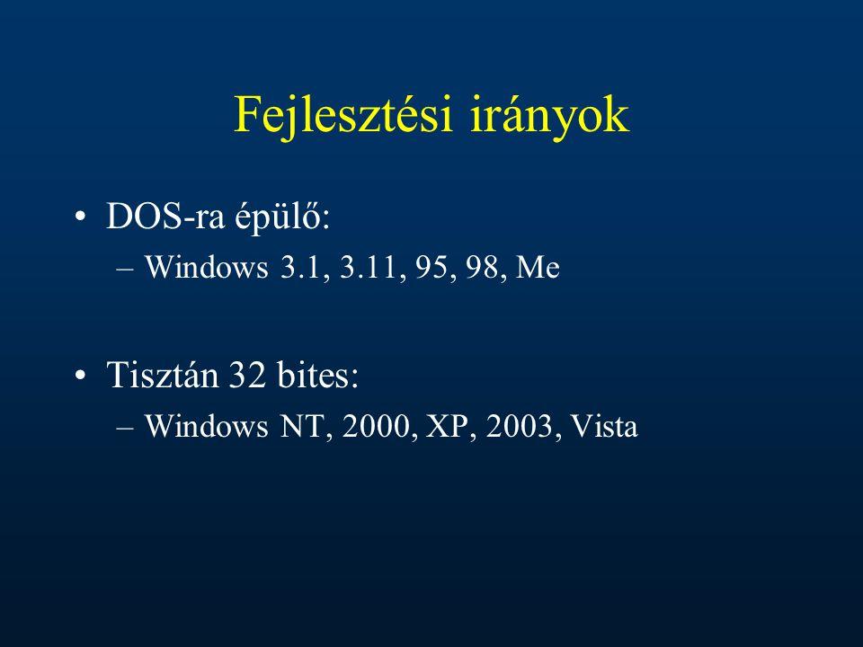 Fejlesztési irányok DOS-ra épülő: –Windows 3.1, 3.11, 95, 98, Me Tisztán 32 bites: –Windows NT, 2000, XP, 2003, Vista