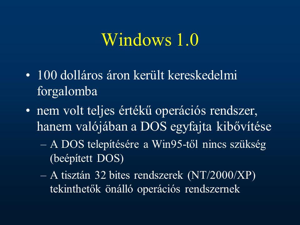Windows 1.0 100 dolláros áron került kereskedelmi forgalomba nem volt teljes értékű operációs rendszer, hanem valójában a DOS egyfajta kibővítése –A D