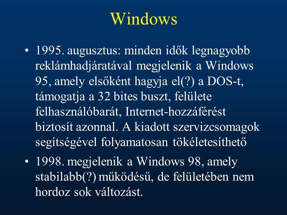 Windows 1995. augusztus: minden idők legnagyobb reklámhadjáratával megjelenik a Windows 95, amely elsőként hagyja el(?) a DOS-t, támogatja a 32 bites