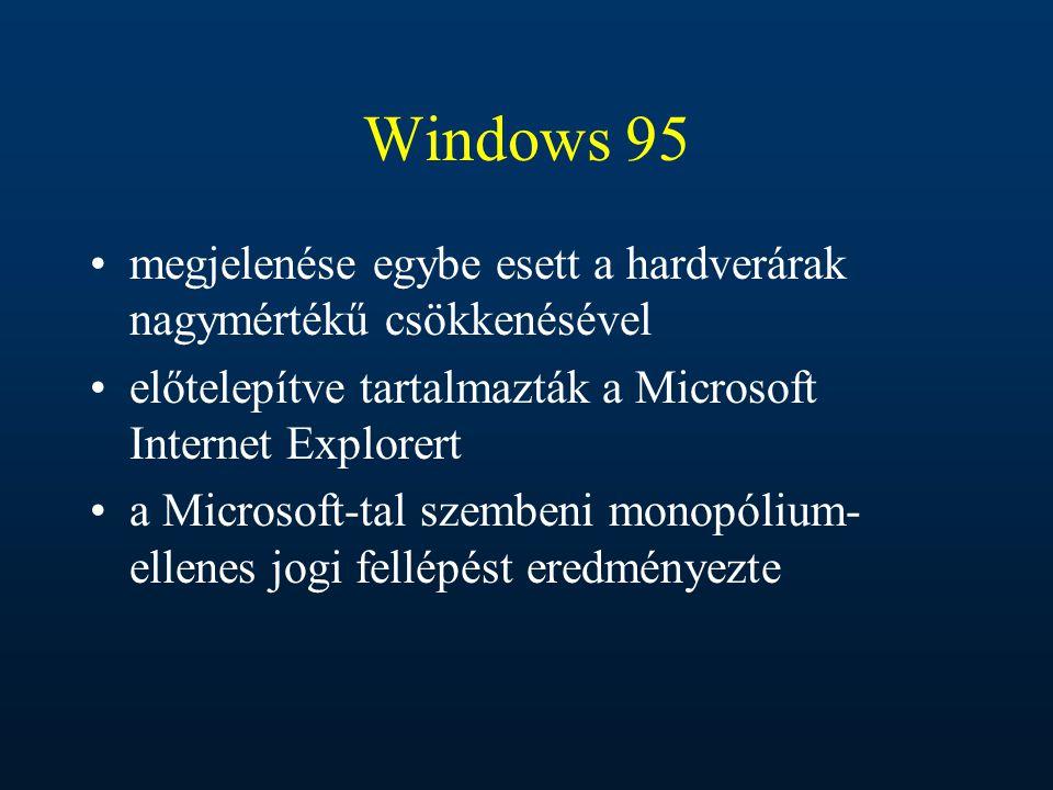 Windows 95 megjelenése egybe esett a hardverárak nagymértékű csökkenésével előtelepítve tartalmazták a Microsoft Internet Explorert a Microsoft-tal sz