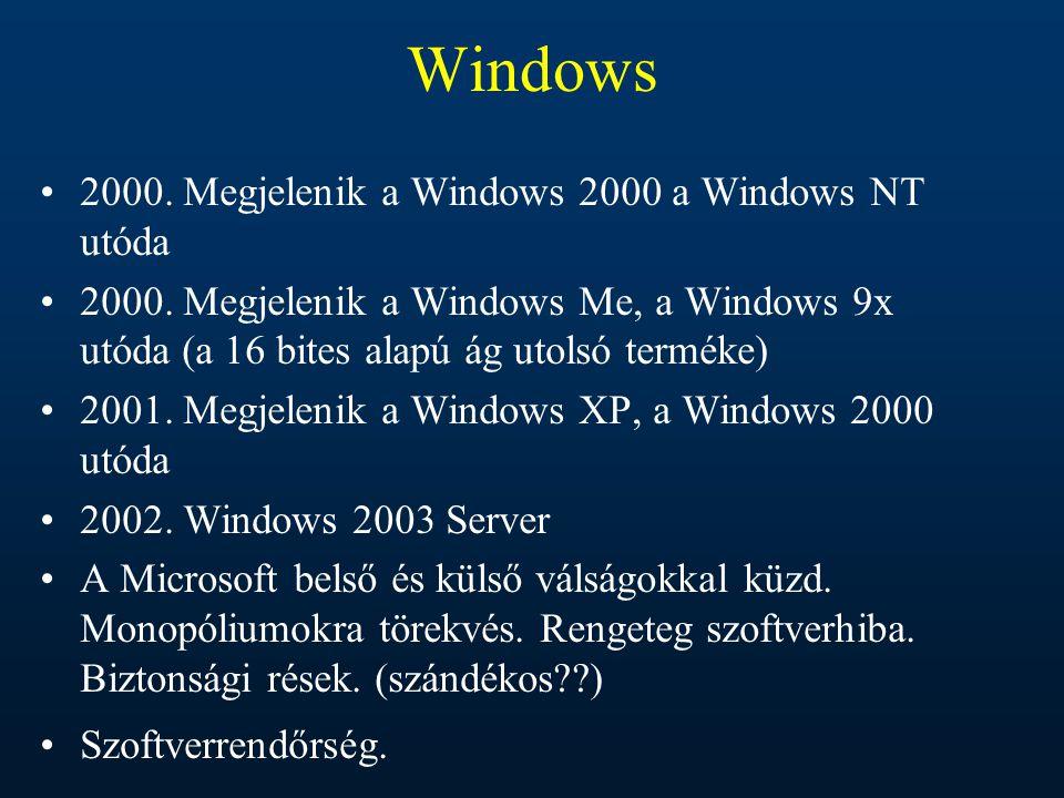 Windows 2000. Megjelenik a Windows 2000 a Windows NT utóda 2000. Megjelenik a Windows Me, a Windows 9x utóda (a 16 bites alapú ág utolsó terméke) 2001