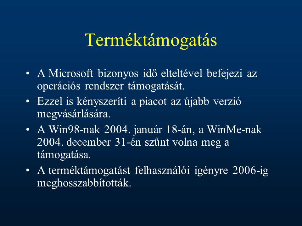 Terméktámogatás A Microsoft bizonyos idő elteltével befejezi az operációs rendszer támogatását. Ezzel is kényszeríti a piacot az újabb verzió megvásár