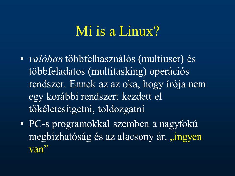 Mi is a Linux? valóban többfelhasználós (multiuser) és többfeladatos (multitasking) operációs rendszer. Ennek az az oka, hogy írója nem egy korábbi re