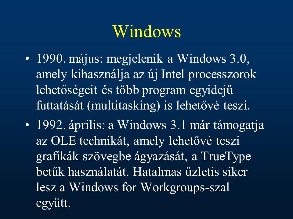 Windows 1990. május: megjelenik a Windows 3.0, amely kihasználja az új Intel processzorok lehetőségeit és több program egyidejű futtatását (multitaski