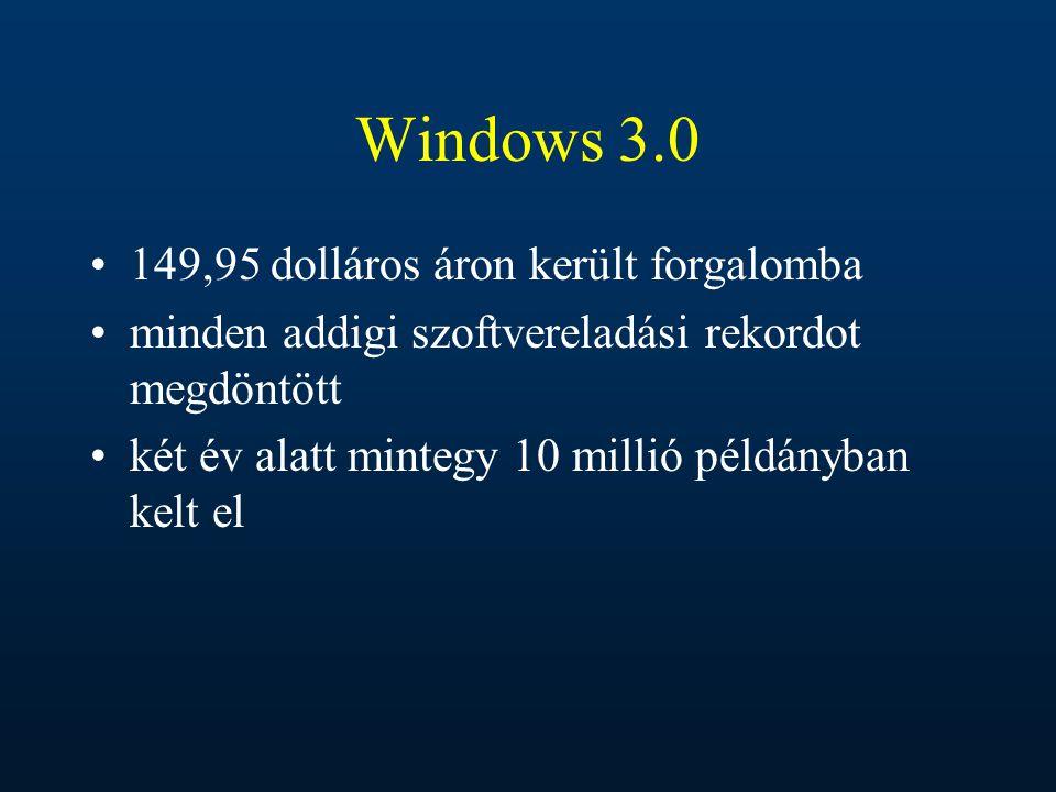 Windows 3.0 149,95 dolláros áron került forgalomba minden addigi szoftvereladási rekordot megdöntött két év alatt mintegy 10 millió példányban kelt el