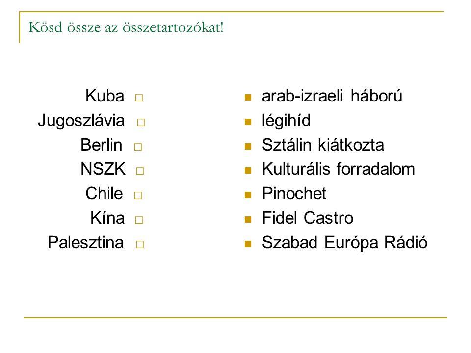 Kösd össze az összetartozókat! Kuba □ Jugoszlávia □ Berlin □ NSZK □ Chile □ Kína □ Palesztina □ arab-izraeli háború légihíd Sztálin kiátkozta Kulturál