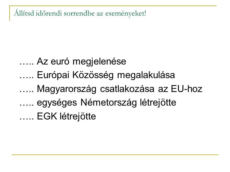 Állítsd időrendi sorrendbe az eseményeket! ….. Az euró megjelenése ….. Európai Közösség megalakulása ….. Magyarország csatlakozása az EU-hoz ….. egysé