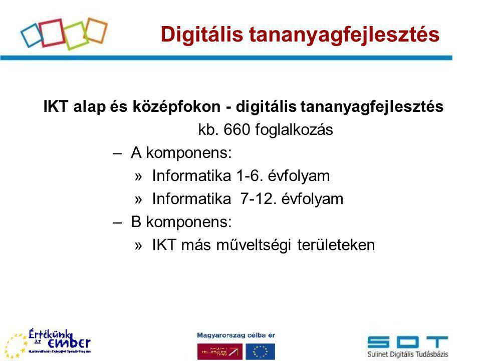 Digitális tananyagfejlesztés IKT alap és középfokon - digitális tananyagfejlesztés kb. 660 foglalkozás –A komponens: »Informatika 1-6. évfolyam »Infor