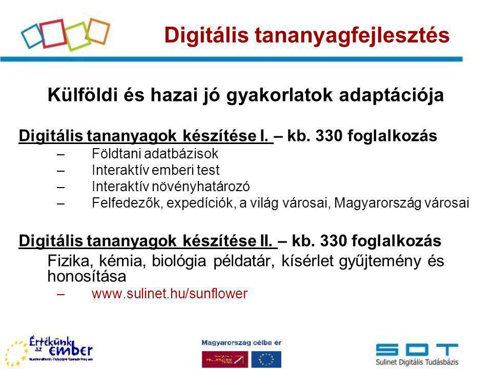 Külföldi és hazai jó gyakorlatok adaptációja Digitális tananyagok készítése I. – kb. 330 foglalkozás –Földtani adatbázisok –Interaktív emberi test –In