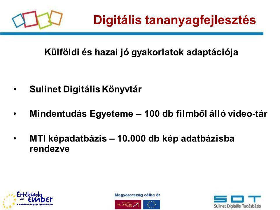 Külföldi és hazai jó gyakorlatok adaptációja Sulinet Digitális Könyvtár Mindentudás Egyeteme – 100 db filmből álló video-tár MTI képadatbázis – 10.000