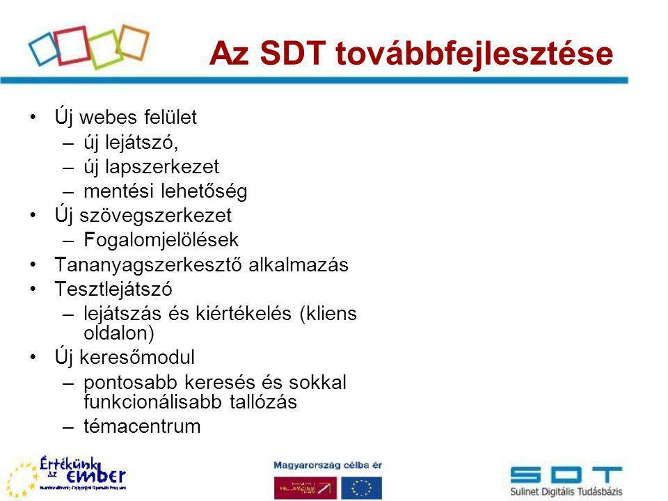 Az SDT továbbfejlesztése Új webes felület –új lejátszó, –új lapszerkezet –mentési lehetőség Új szövegszerkezet –Fogalomjelölések Tananyagszerkesztő al